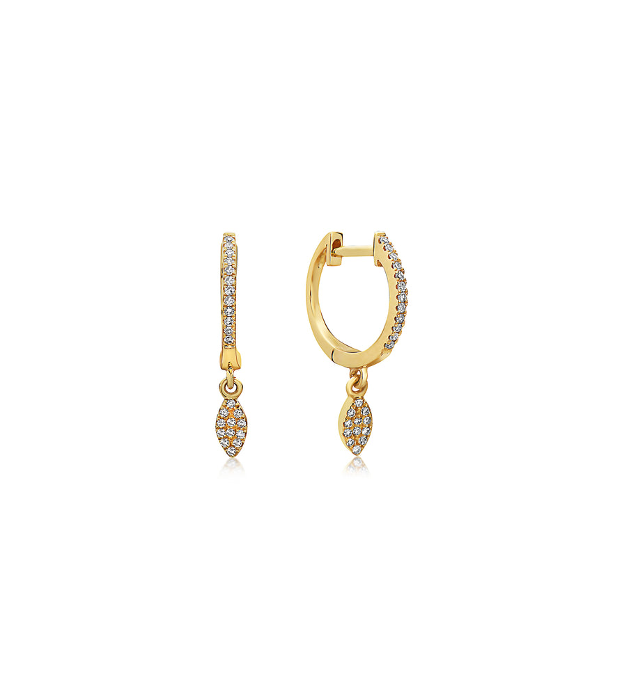 Diamond Marquise Dangle Earring - 14K Yellow Gold / Single - Olive & Chain Fine Jewelry