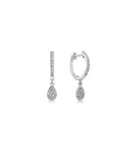 Diamond Pear Dangle Earring - 14K White Gold / Pair - Olive Jewelry