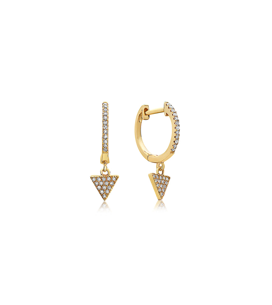 Diamond Triangle Dangle Earring - 14K Yellow Gold / Pair - Olive & Chain Fine Jewelry