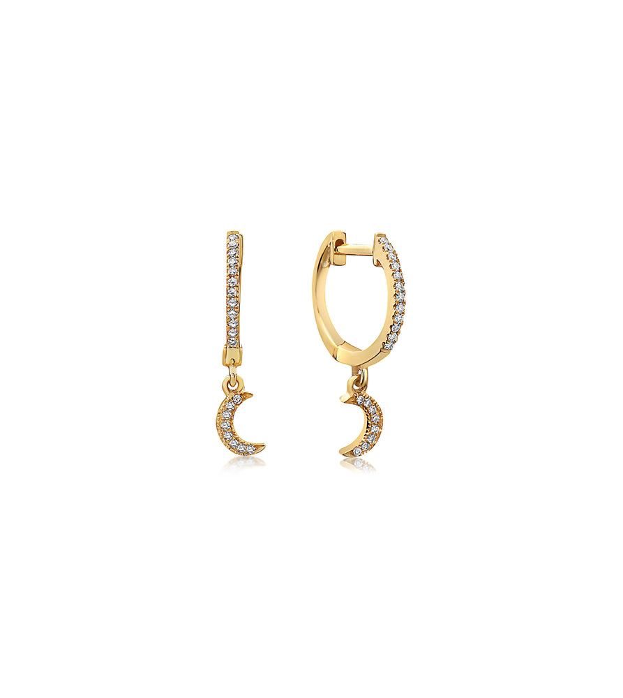 Diamond Moon Dangle Earring - 14K Yellow Gold - Olive & Chain Fine Jewelry