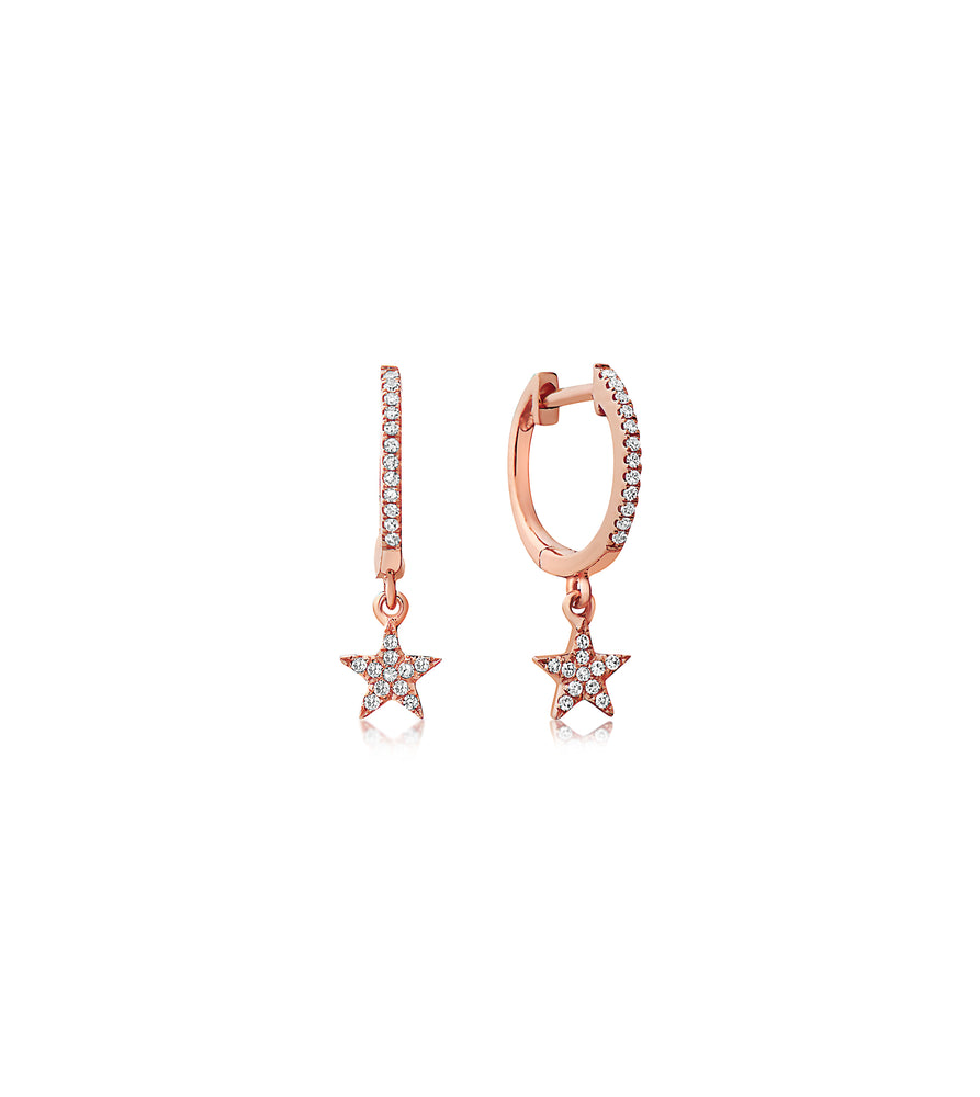 Diamond Star Dangle Earring - 14K Rose Gold / Pair - Olive & Chain Fine Jewelry