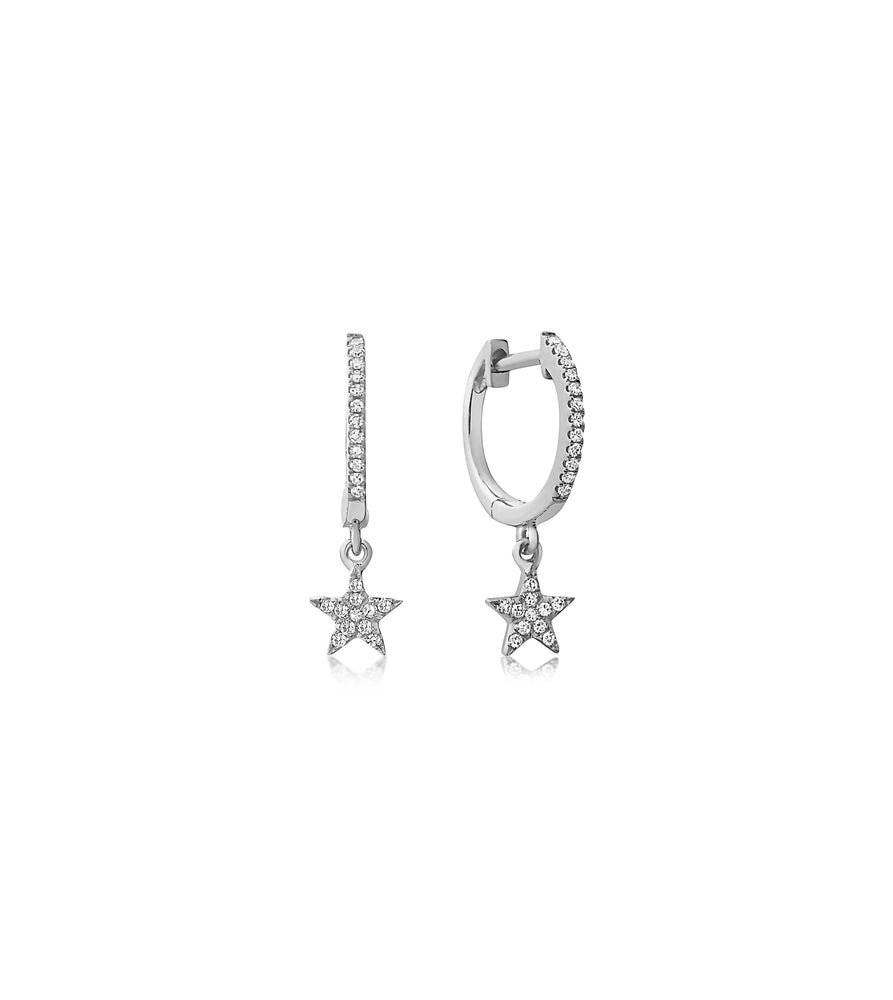 Diamond Star Dangle Earring - 14K White Gold / Pair - Olive & Chain Fine Jewelry
