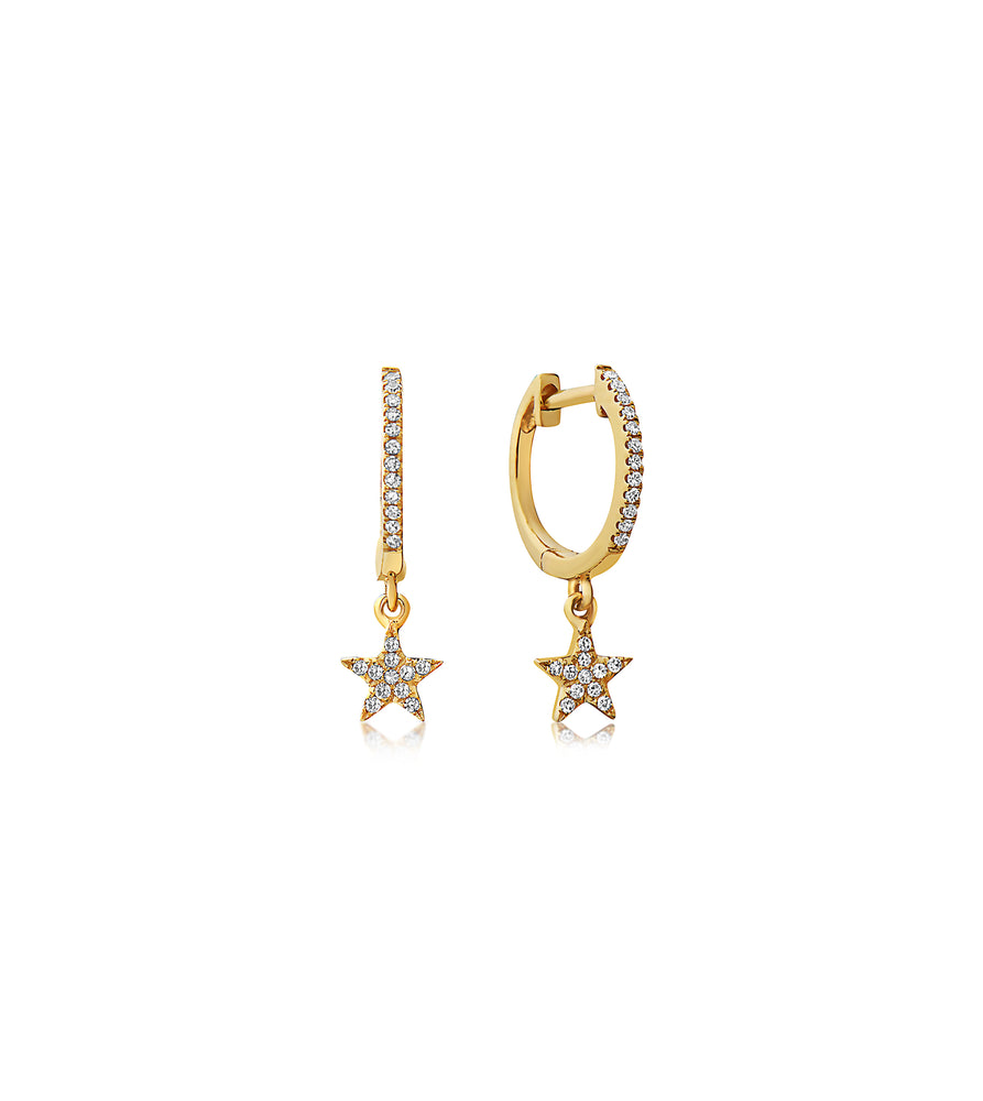 Diamond Star Dangle Earring - 14K Yellow Gold / Pair - Olive & Chain Fine Jewelry