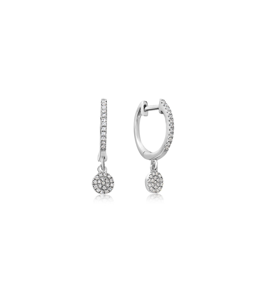 Diamond Disc Dangle Earring - 14K White Gold / Pair - Olive & Chain Fine Jewelry