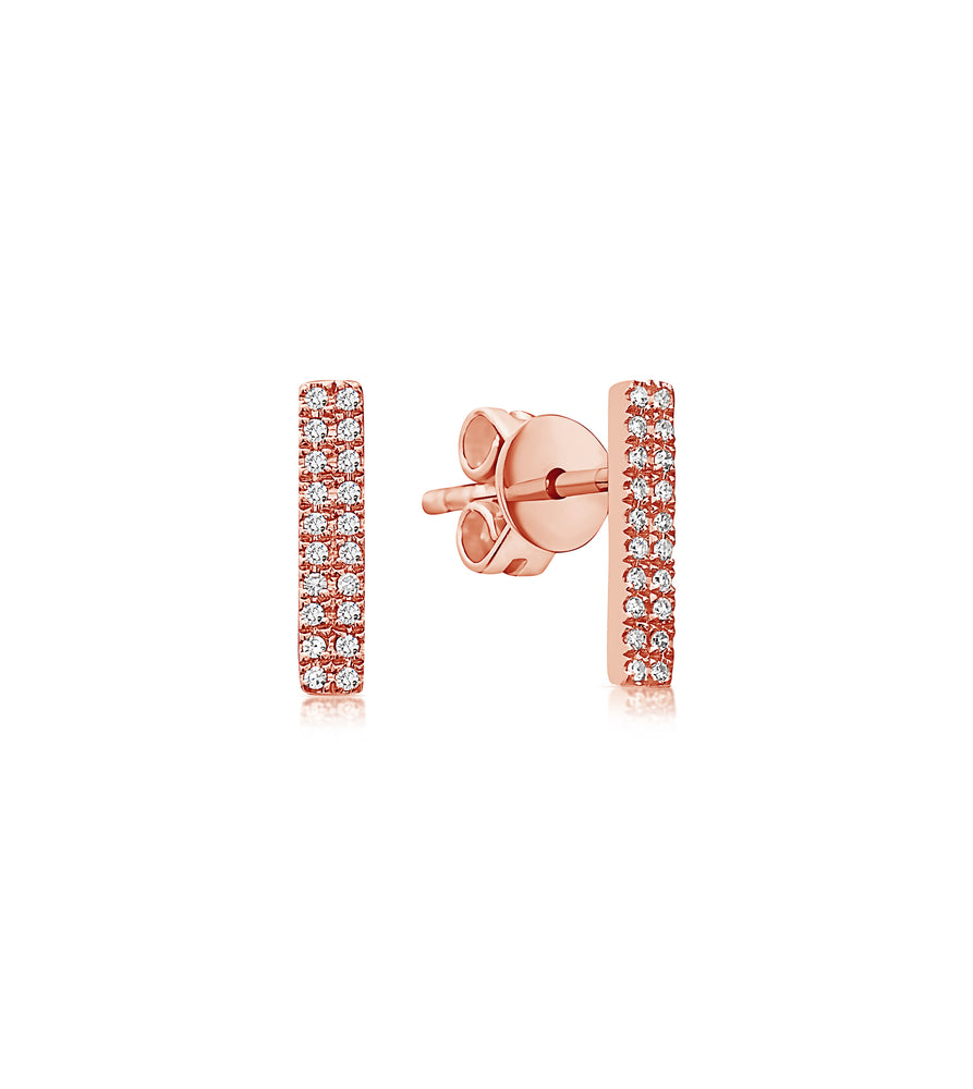 Diamond Bar Stud Earring - 14K Rose Gold / Pair - Olive & Chain Fine Jewelry