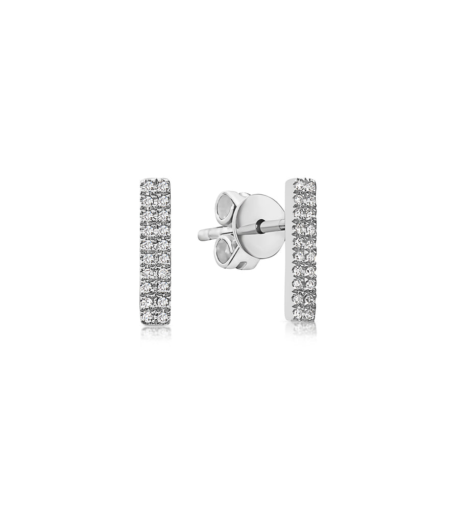 Diamond Bar Stud Earring - 14K White Gold / Pair - Olive & Chain Fine Jewelry