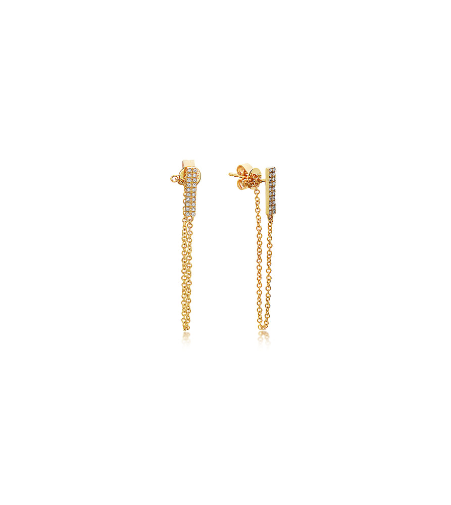 Diamond Bar-Chain Stud Earring - 14K Yellow Gold / Pair - Olive & Chain Fine Jewelry