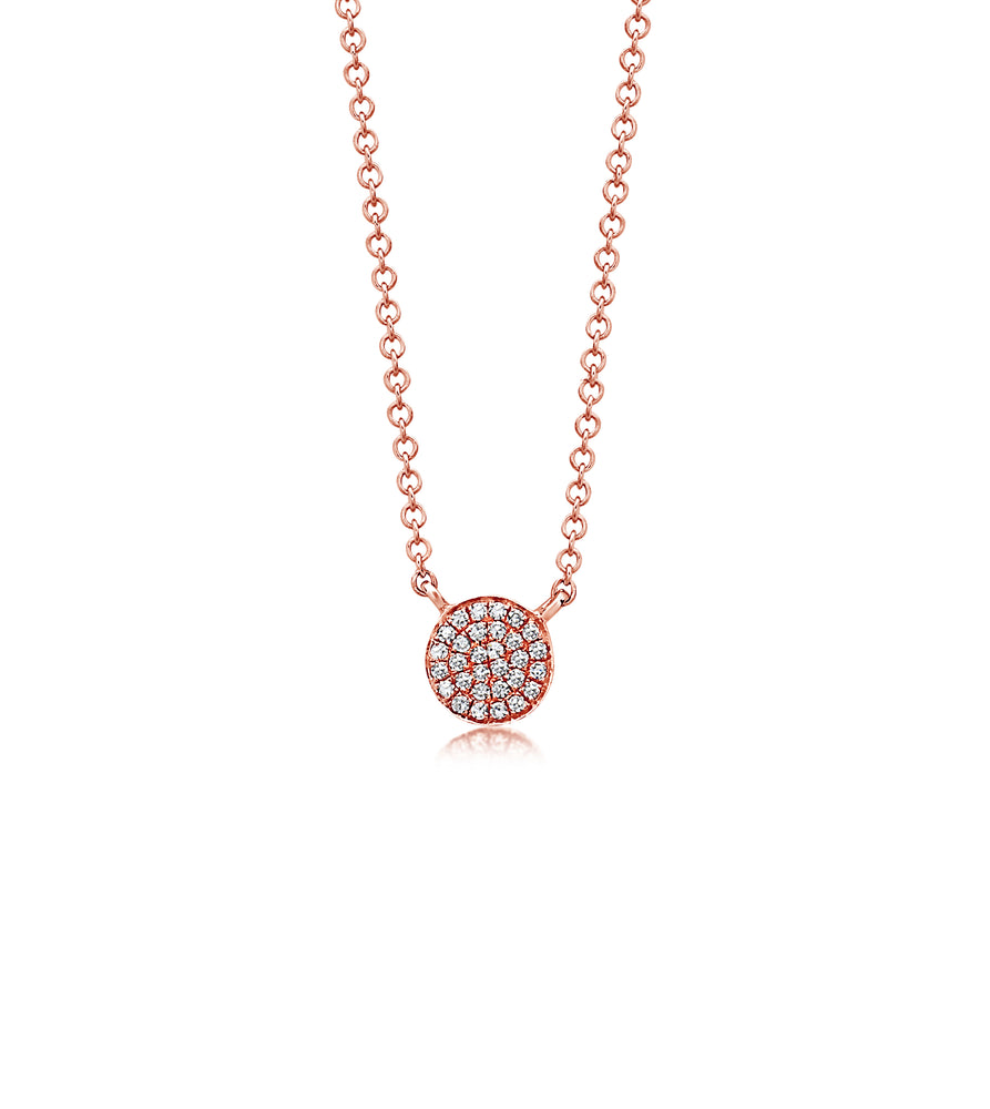 Diamond Disc Necklace - 14K Rose Gold - Olive Jewelry