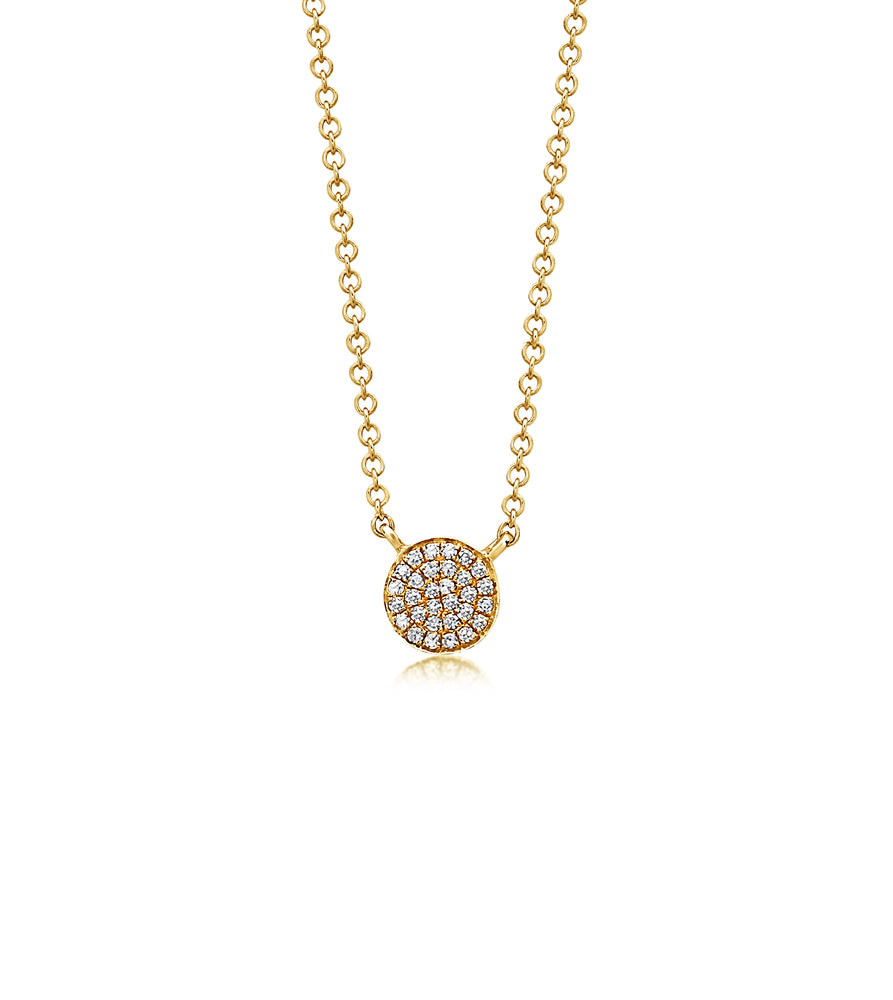 Diamond Disc Necklace - 14K Yellow Gold - Olive Jewelry