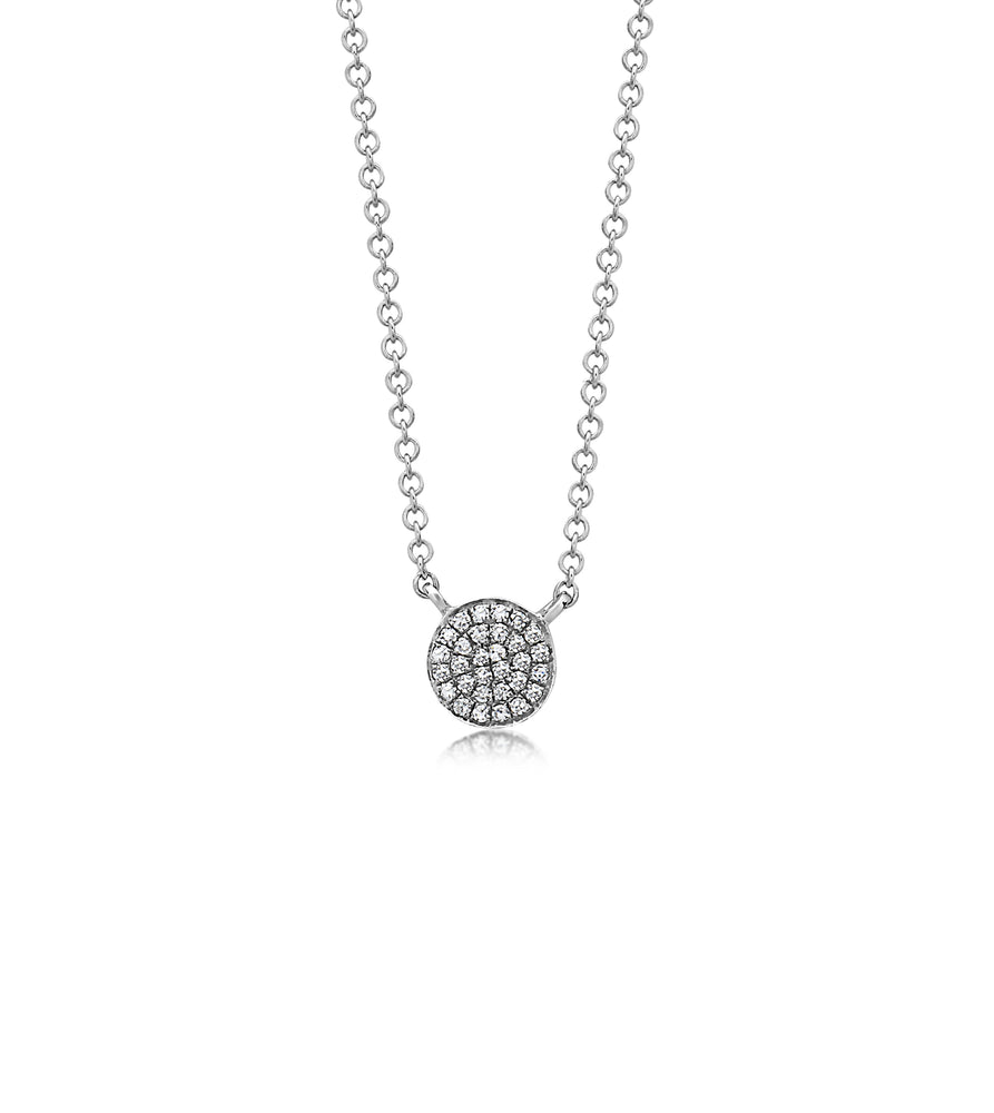 Diamond Disc Necklace - 14K White Gold - Olive Jewelry