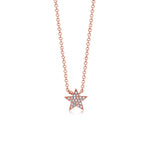 Diamond Star Necklace - 14K Rose Gold - Olive Jewelry