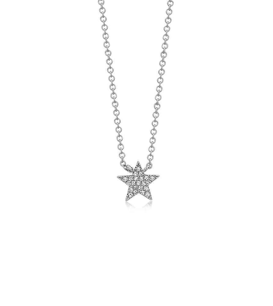 Diamond Star Necklace - 14K White Gold - Olive Jewelry