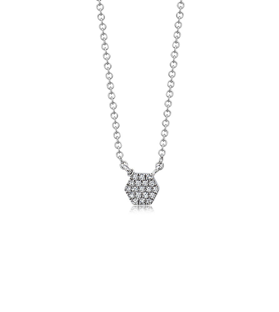 Diamond Hexagon Necklace - 14K White Gold - Olive & Chain Fine Jewelry