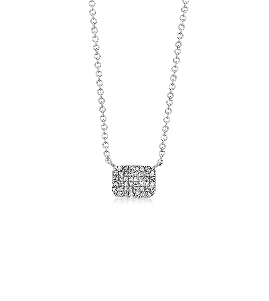 Diamond Radiant Necklace - 14K White Gold - Olive & Chain Fine Jewelry
