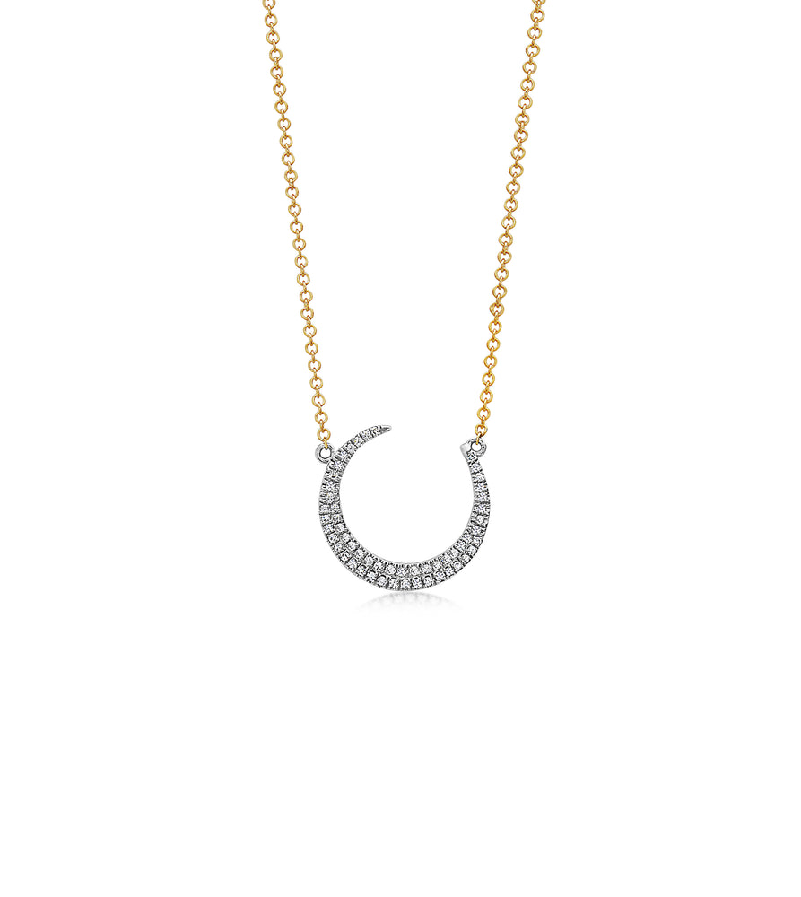 Diamond Crescent Moon Necklace - 14K Two-Tone Gold - Olive Jewelry