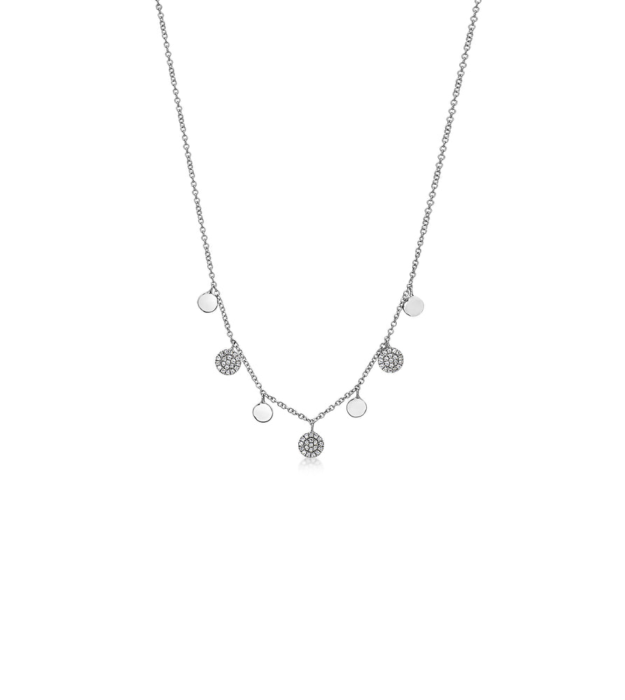 Diamond Charm Disc Necklace - 14K White Gold - Olive Jewelry