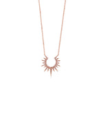 Diamond Sunburst Necklace - 14K Rose Gold - Olive & Chain Fine Jewelry