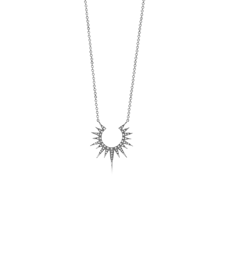 Diamond Sunburst Necklace - 14K White Gold - Olive & Chain Fine Jewelry