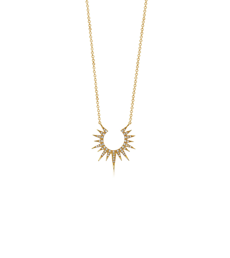 Diamond Sunburst Necklace - 14K Yellow Gold - Olive & Chain Fine Jewelry