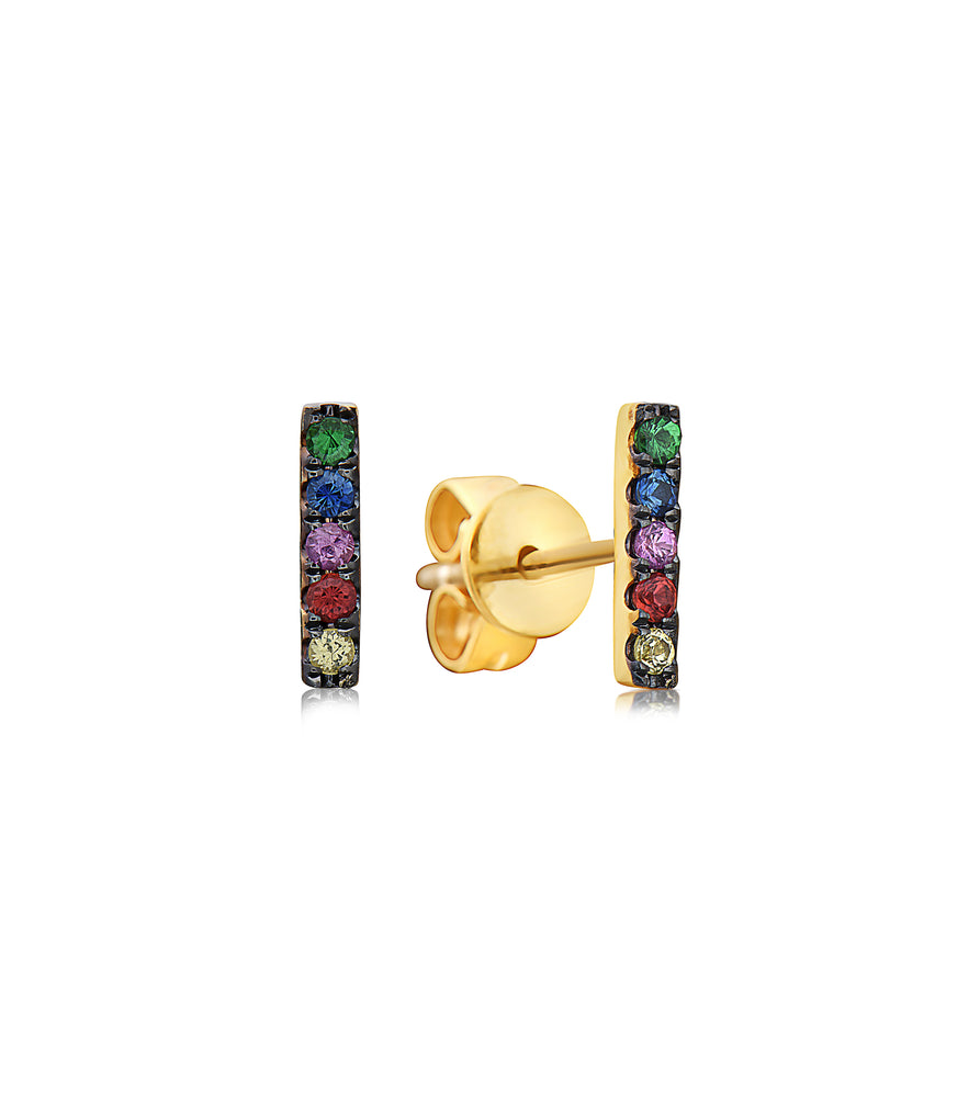 Rainbow Bar Stud Earring - 14K Yellow Gold - Olive & Chain Fine Jewelry