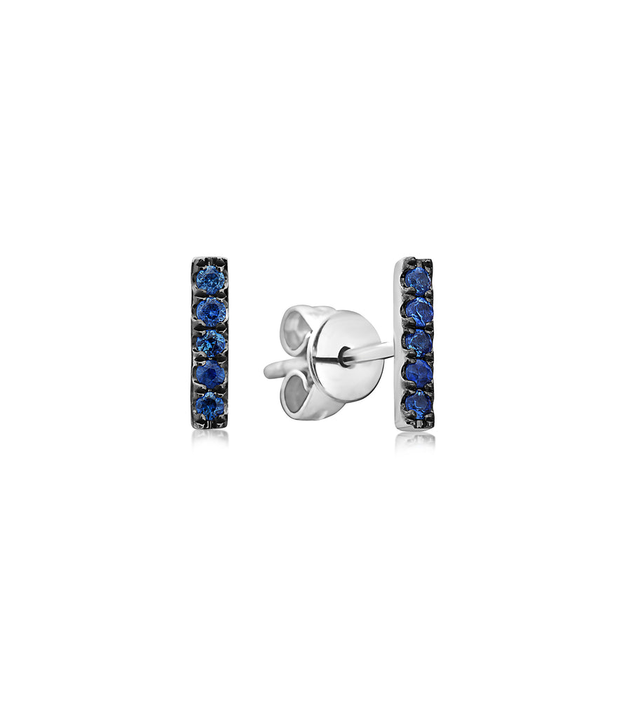 Sapphire Bar Stud Earring in White Gold