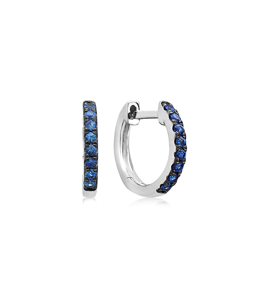 Sapphire Huggie Earring - 14K White Gold - Olive & Chain Fine Jewelry