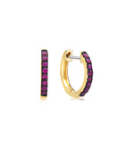 Ruby Huggie Earring - 14K Yellow Gold - Olive & Chain Fine Jewelry