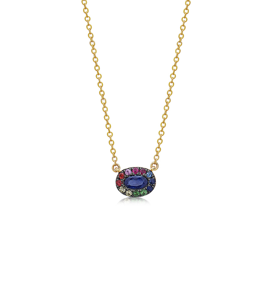 Sapphire and Rainbow Halo Necklace - 14K Yellow Gold - Olive & Chain Fine Jewelry