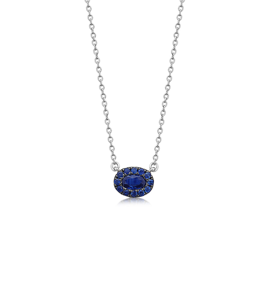 Sapphire Oval Halo Necklace