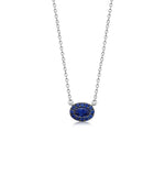Sapphire Oval Halo Necklace - 14K White Gold - Olive & Chain Fine Jewelry