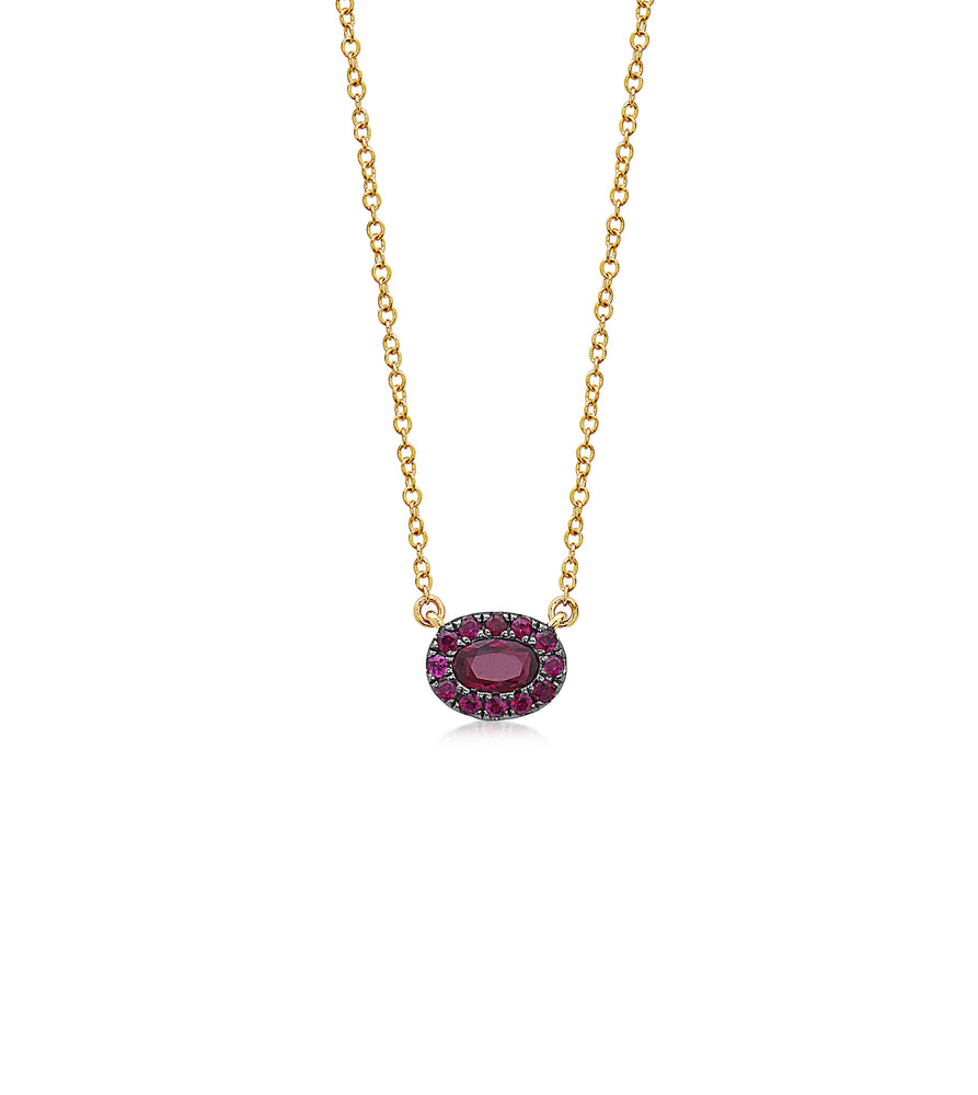 Ruby Oval Halo Necklace