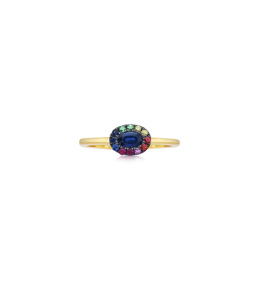 Sapphire and Rainbow Halo Ring - 14K Yellow Gold / 5 - Olive Jewelry