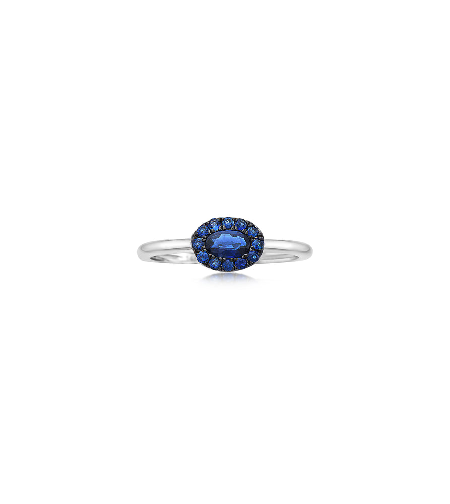Sapphire Oval Halo Ring
