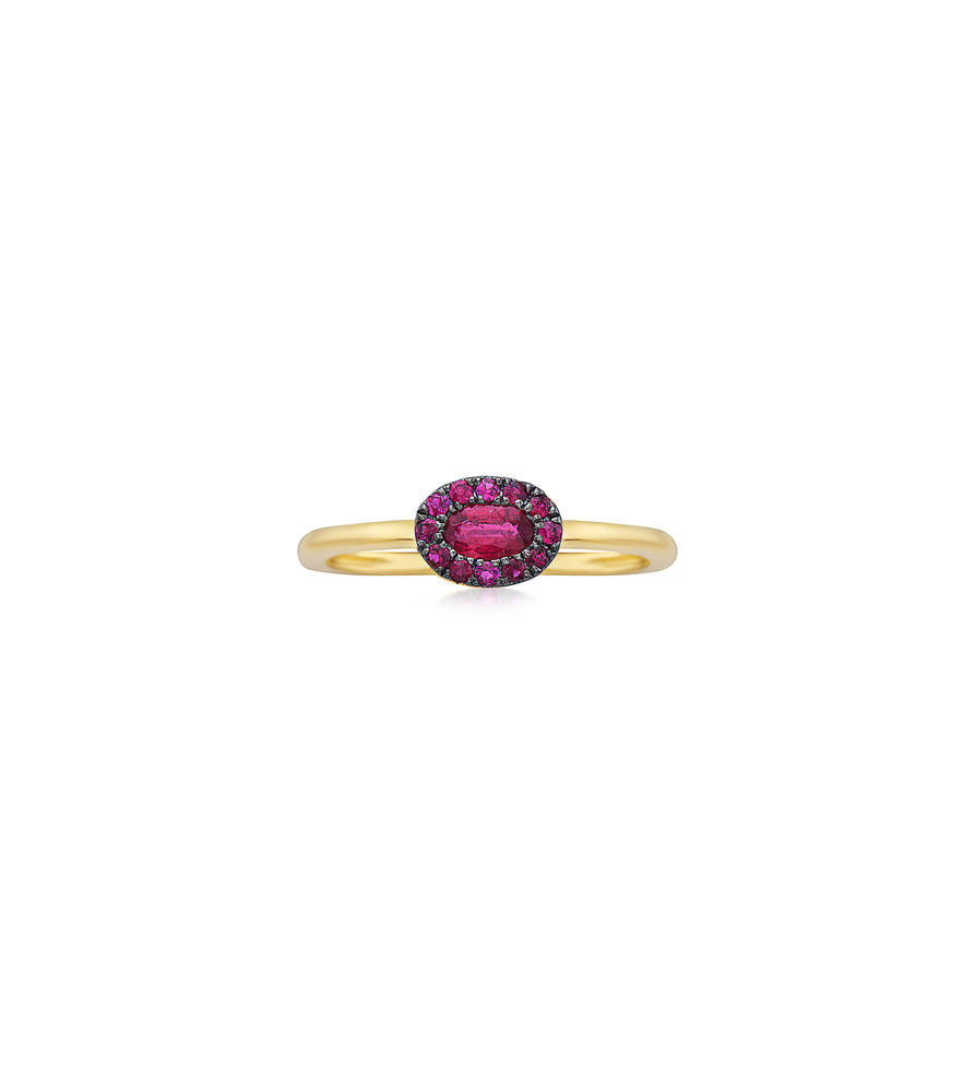 Ruby Oval Halo Ring - 14K Yellow Gold / 5 - Olive & Chain Fine Jewelry