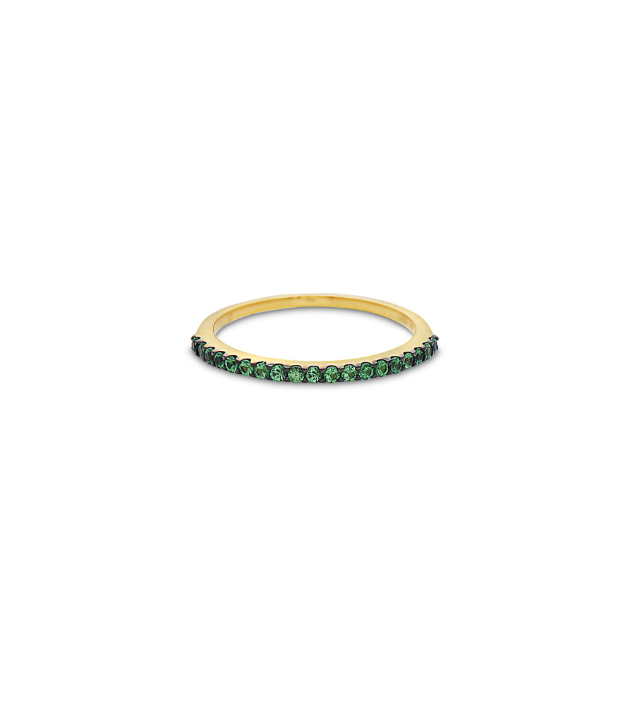 Tsavorite Stackable Band - 14K Yellow Gold / 5 - Olive & Chain Fine Jewelry
