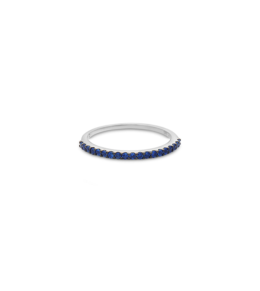 Sapphire Stackable Band - 14K White Gold / 5 - Olive Jewelry