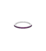 Pink Sapphire Stackable Band - 14K White Gold / 5 - Olive & Chain Fine Jewelry