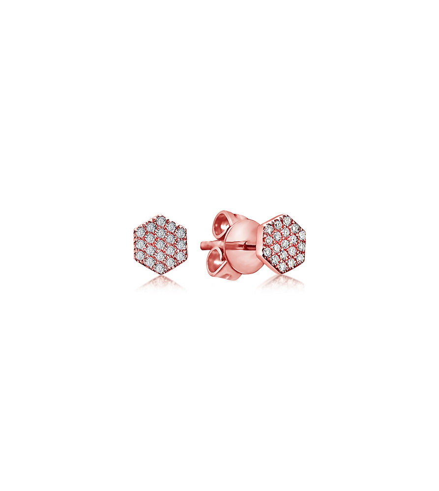 Diamond Honeycomb Stud Earring - 14K Rose Gold / Pair - Olive Jewelry
