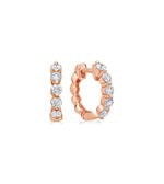 Diamond Full Cut Huggie Earring - 14K Rose Gold - Olive & Chain Fine Jewelry