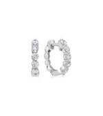 Diamond Full Cut Huggie Earring - 14K White Gold - Olive & Chain Fine Jewelry