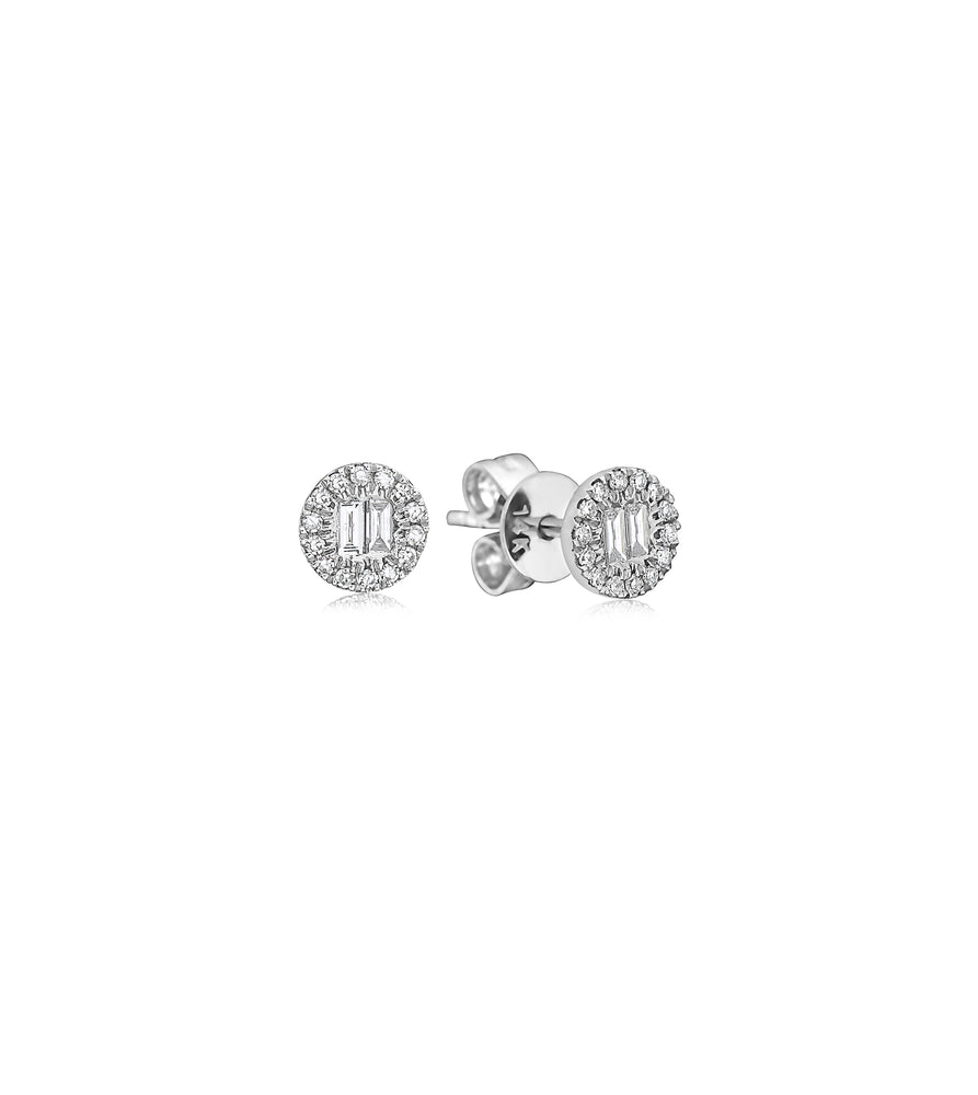 Diamond Baguette and Halo Round Stud Earrings - 14K White Gold - Olive & Chain Fine Jewelry