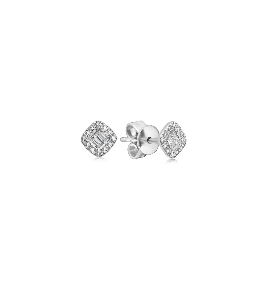 Diamond Baguette and Halo Square Stud Earring - 14K White Gold - Olive Jewelry
