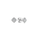 Diamond Baguette and Halo Square Stud Earring