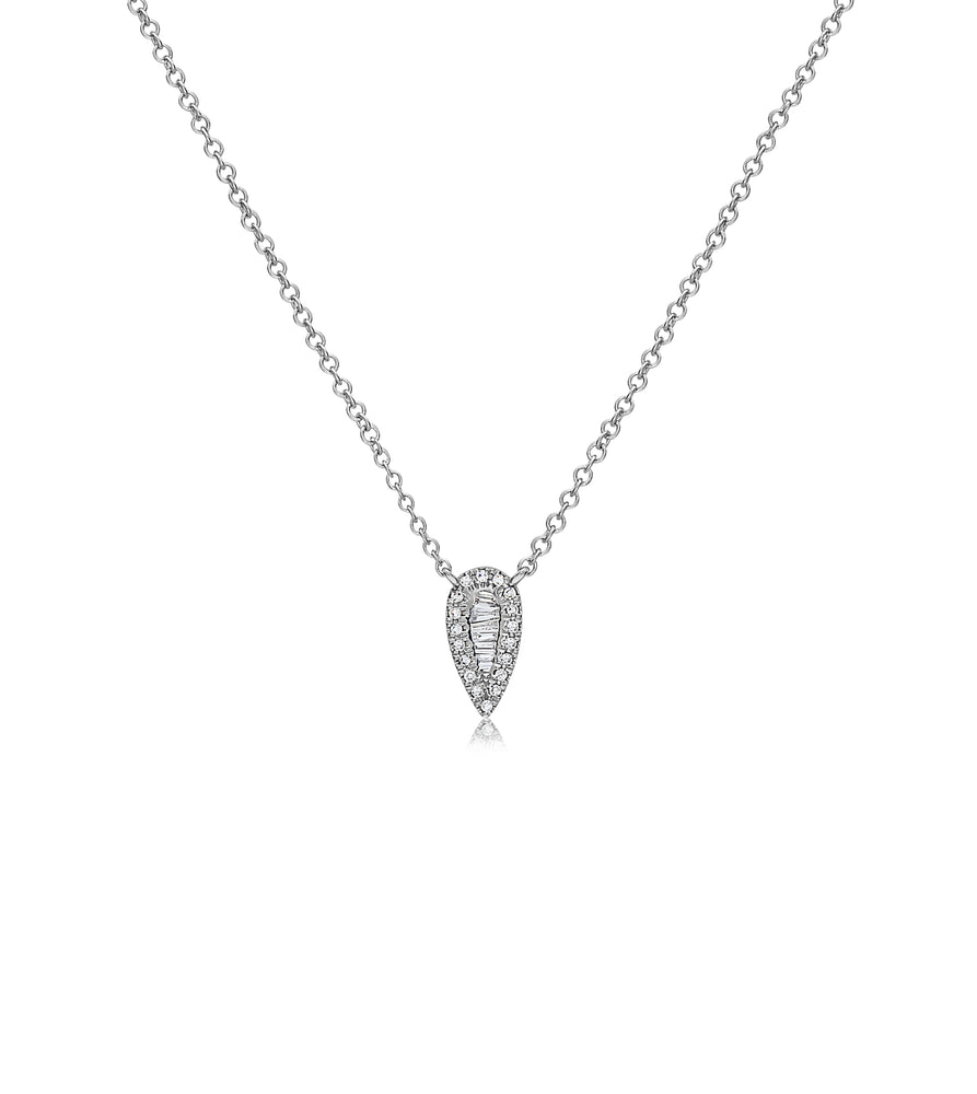 Diamond Baguette and Halo Pear Necklace - 14K White Gold - Olive & Chain Fine Jewelry