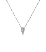 Diamond Baguette and Halo Pear Necklace - 14K White Gold - Olive Jewelry
