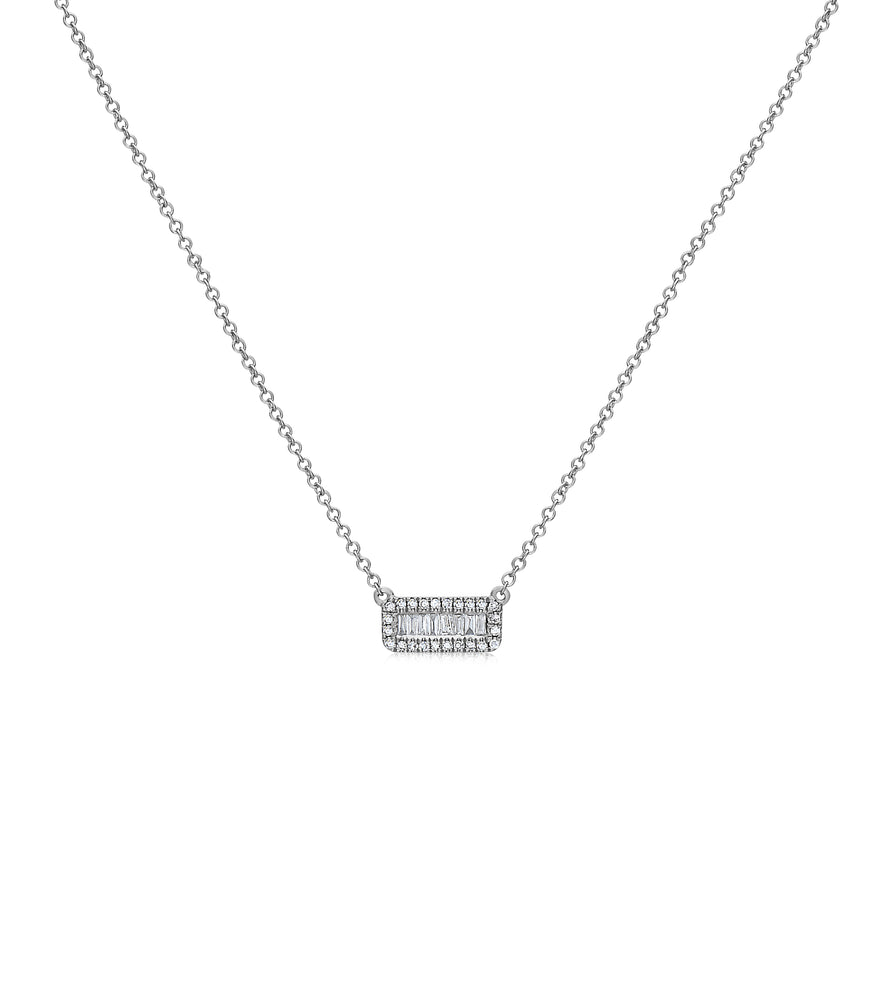 Diamond Baguette and Halo Bar Necklace - 14K White Gold - Olive & Chain Fine Jewelry