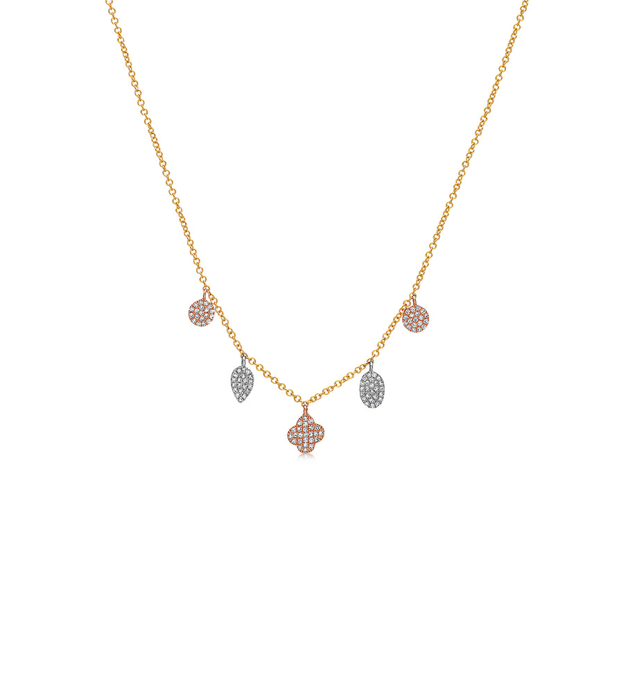 Diamond Mix Shape Dangle Necklace - 14K Two-Tone Gold - Olive Jewelry