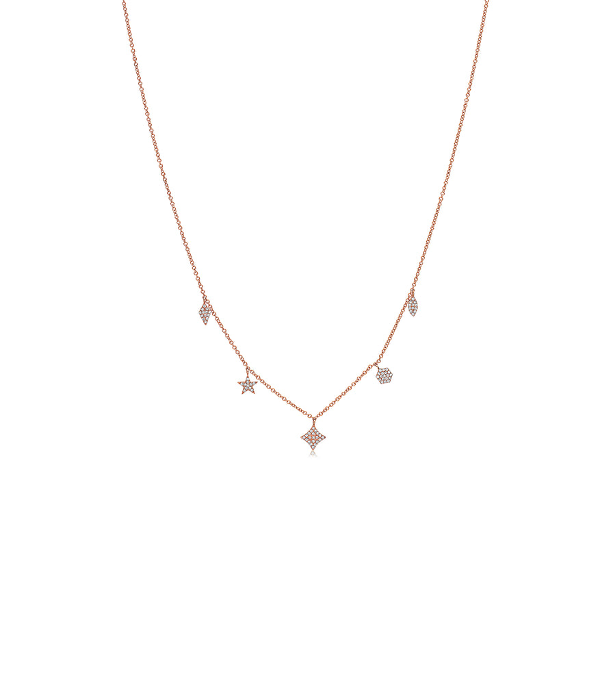 Diamond Mix Shape Dangle Necklace - 14K Rose Gold - Olive & Chain Fine Jewelry