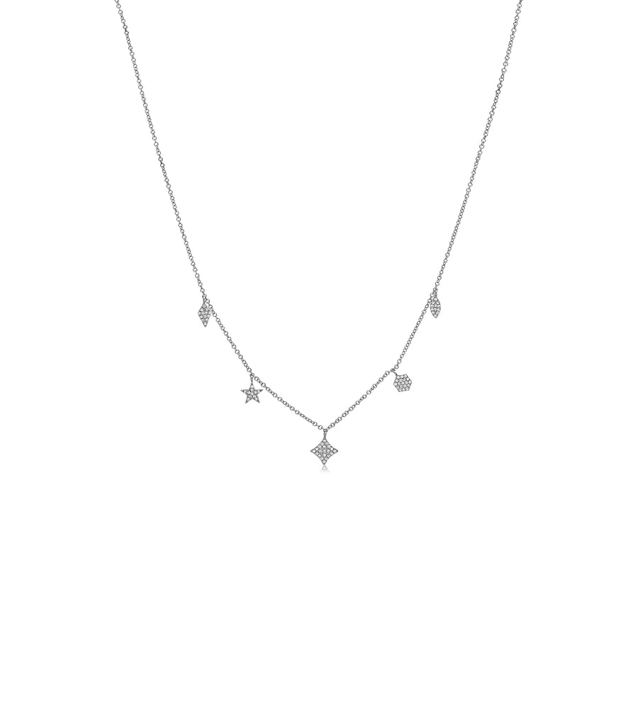 Diamond Mix Shape Dangle Necklace - 14K White Gold - Olive & Chain Fine Jewelry