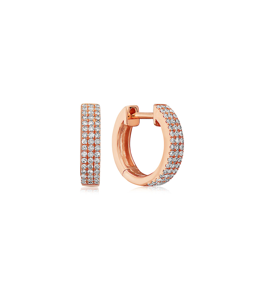 Diamond 3 Row Huggie Earring - 14K Rose Gold - Olive & Chain Fine Jewelry